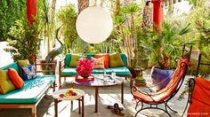 =The Parker Hotel's Lush Landscape jonathan adler / Palm Springs Outdoor Dining Set, Outdoor Living, Outdoor Furniture Sets, Outdoor Decor, Deck Furniture, Outdoor Stuff, Outdoor Art, Outdoor Fabric, Outdoor Seating