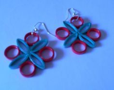Red and Green Paper Earrings Upcycled Paper Art #Handmade
