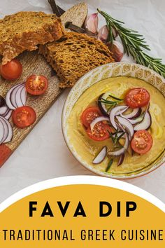 Fava dip is an incredibly tasty, creamy dish, widespread in traditional Greek cuisine. It is a hummus-like dip that can be prepared quickly and easily. Consisting of vegetables only, it is a great choice for vegans.The name fava comes from the Latin word favus meaning broad bean. In the beginning, fava was made of broad bean and eventually replaced with yellow shelled lentil, since it is easier to digest. Hence the misnomer. Shelled, Stuffed Shells, World Recipes, Vegans, Cherry Tomatoes, Lentils, Bon Appetit, Hummus, Meal Planning