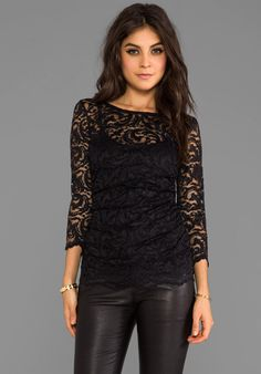 47609ff34ac54 VELVET BY GRAHAM   SPENCER Remly Stretch Lace Top in Black at Revolve  Clothing Black Lace