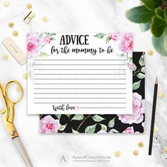 Baby Shower Advice Chalkboard Printable X Pdf Diy Rustic Shabby