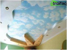 Dekor na strope sadrokartónu v detskej izbe
