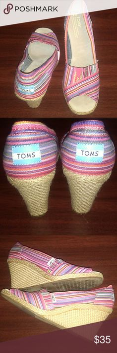 Toms Gently used, Calypso Wedge Espadrille Shoes, Peep Toe, Pink and Plum Tribal Stripes, size 8w, super adorable Toms Shoes Wedges