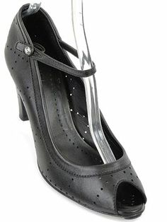 Chanel - Perforated Leather Peep Toe Black Pumps $326