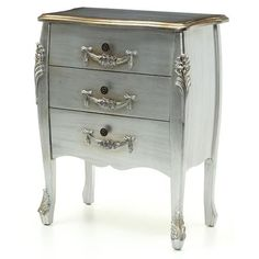 SALE French Rococo Style Ornate Silver Bedroom 3 Chest Of Drawers NEW!