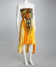 Take a look at this Yellow Tie-Dye Strapless Dress by Ash & Sara on #zulily today! $29.99, regular 96.00