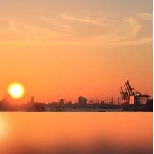 Ein lauer Sommer Morgen in Hamburg-Finkenwerder mit Blick auf den Hafen.