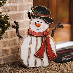 Distressed Wooden Snowman Statue | Kirklands