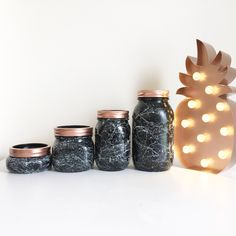High gloss black with white marble effect ball mason jars. Home decor, monochrome, office decor, office storage, makeup brush storage, uk. by BearClawCo on Etsy https://www.etsy.com/uk/listing/465881435/high-gloss-black-with-white-marble