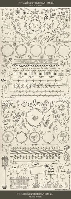 """Over 300 """"Woodland Whimsy"""" Hand Drawn Vector Design Elements! Flourishes, curls, corners, borders, wreaths, leaves, flowers, mushrooms, birds, bugs, hearts, stars, feathers, arrows, and so much more. #scrapbookprintables"""