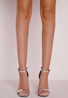 Missguided - High Shine Barely There Heeled Sandals Silver