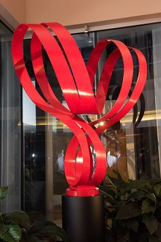 "Double Ribbon Nobius 60""H  www.johnsearles.com #sculpture #redsculpture #heart #heartsculpture #aluminumsculpture"