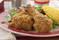 "Not Fried ""Fried"" Chicken - Love the taste of fried chicken, but wish there were a healthier version? Your wish is granted with our Not Fried ""Fried"" Chicken. Our baked version tastes just like it was fried in a pan, minus all the guilt. Crispy Oven Fries, Crispy Oven Fried Chicken, Fries In The Oven, Baked Chicken, Chicken Recipes, Chicken Meals, Cooking Recipes, Healthy Recipes, Diabetic Recipes"