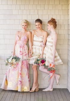 Pink Floral Print Wedding Dress with Preppy Gold Striped Bridesmaids! | Kat Harris Photography on @heyweddinglady via @aislesociety