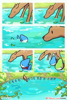 A Deer In the Lake by Vress-shark on DeviantArt Cute Animal Drawings, Kawaii Drawings, Cute Drawings, Cute Funny Animals, Cute Baby Animals, Funny Cute, Cute Comics, Funny Comics, Sheldon The Tiny Dinosaur