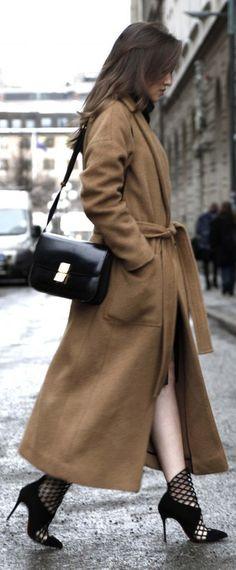 Cozy tan coat.