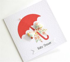 Baby Shower Card - Umbrella, 3D Bow, Red and floral