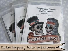 Day of the Dead Wedding Favors - Temporary Tattoos!   #day #of #the #dead #dayofthedead #wedding #favors #weddingfavors #wedding favors #day of the dead