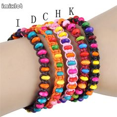 imixlot 2017 Fashion Free Shipping 12pcs/Lot Candy Color Child Wood Bracelet Toy Birthday Gift Little Princess Accessories