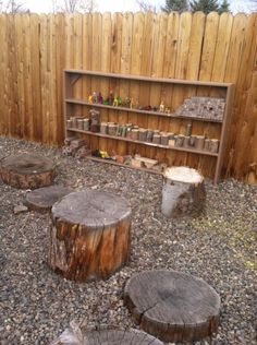 stumps as stages for play, plus shelves of small toys and loose parts