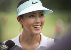 Michelle Wie answers questions from the press.  Defending champion Michelle Wie played a practice round at Lancaster Country Club prior to the LPGA 2015 U.S. Women's Open.  Sunday July 5, 2015.   Daniel Zampogna, PennLive