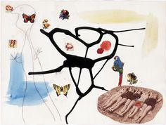 Joan Miró, Métamorphose, 1936, pencil, India ink, watercolor, decal and collage on paper. COURTESY GALERIE GMURZYNSKA