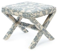 One Kings Lane - The Reading Room - Palmer Ottoman, Cream/Steel Blue