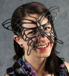 Butterfly mask in black leather by TomBanwell on Etsy