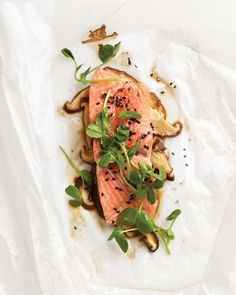 Sesame Salmon with Shiitake Mushrooms and Pea Shoots    A combination of ginger, soy sauce, and sesame oil creates a flavor that's reminiscent of teriyaki sauce but more delicious and nuanced.