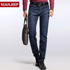 48.00$  Buy here - http://alinc3.worldwells.pw/go.php?t=32787368780 - 2017 New Brand Men Straight Leisure Trousers Pockets Big Size Slim Mid Length Zipper Fly Mens Business Denim Jeans Freeshipping