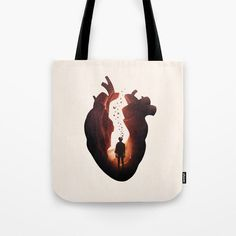 """Flickering Heart by Enkel Dika  Our quality crafted Tote Bags are hand sewn in America using durable, yet lightweight, poly poplin fabric. All seams and stress points are double stitched for durability. Available in 13"""" x 13"""", 16"""" x 16"""" and 18"""" x 18"""" variations, the tote bags are washable, feature original artwork on both sides and a sturdy 1"""" wide cotton webbing strap for comfortably carrying over your shoulder."""