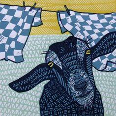 Linocut cat and dog Gemini in zodiac series by InkyprintsOriginals Illustrations, Children's Book Illustration, Linocut Prints, Art Prints, Goat Art, Collage, Linoprint, Desenho Tattoo, Wood Engraving