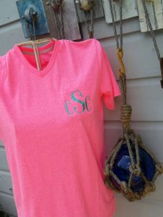 Monogrammed V Neck Bright Pink Pocket T Shirt by BlumersEmbroidery, $19.99