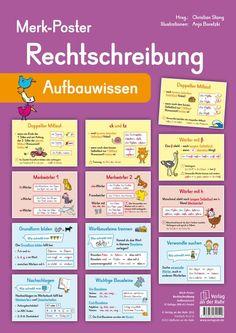 Merk-Poster - Spelling - Advanced knowledge ++ for the classroom, . German Grammar, German Language Learning, Learn German, School Hacks, Primary School, Kids Learning, Spelling, Einstein, Knowledge