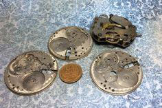 $5 Steampunk  vintage pocket watch parts set of 4 by mkpdestash