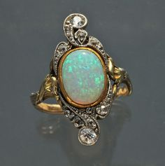 Art Nouveau Ring Gold Opal Diamond - French 1900