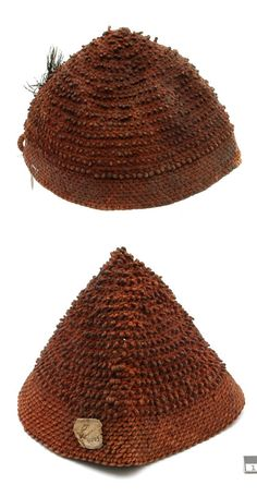 Africa | 2 hats from the Nilote people of Sudan.  Vegetable fiber, feather | 19th century