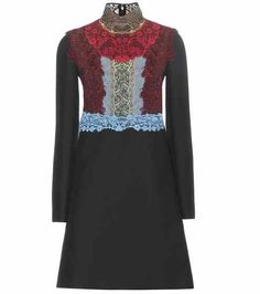 Lace-trimmed wool and silk dress | Valentino