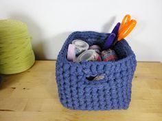 DIY tutorial caja organizador de trapillo crochet