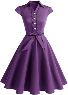 Wedtrend Women's 1950s Cap Sleeves Swing Vintage Party Dresses Multi Colored WTP10007Purple3XL at Amazon Women's Clothing store: