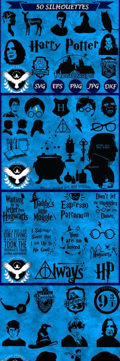 50 Harry Potter Silhouettes | Harry Potter Clipart | Harry Potter SVG | Harry Potter Vector | Hogwarts | Hermione | Gryffindor | Wizard. Great for DIY projects, crafting, invitations, wrapping paper, scrapbooks, wall decorations, to print on t-shirts, stamps, cards, logos, banners and other projects and activities. #harrypotter #fonts #svg #cutfiles #ad #silhouette #bulletjournals  #etsy