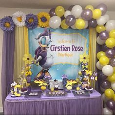 The marvellous Don't Miss This Wonderful Daisy Duck Birthday Party! The Throughout Daisy Duck Party Decorations image below, is … Baby Showers, Baby Shower Duck, Paper Sunflowers, Giant Paper Flowers, 1st Birthday Girls, 2nd Birthday Parties, Themed Parties, Balloon Birthday, Balloon Garland