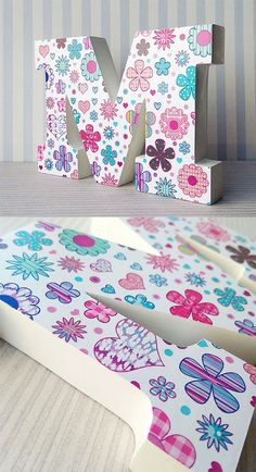 Discover recipes, home ideas, style inspiration and other ideas to try. Diy Letters, Letter A Crafts, Letter Art, Wooden Letters, Craft Stick Crafts, Paper Crafts, Kids Wood, Nursery Decor, Decoupage