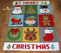 Get ready to finish your Merry Christmas pixel afghan with this fun border! Free crochet pattern by Repeat Crafter Me. Make it with Vanna's Choice and a size F crochet hook!