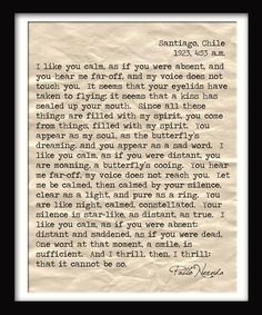 pablo neruda love letter sighone of my all time