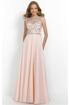 Sexy Long Floor-length Scoop Cap Sleeves Natural Prom Dresses