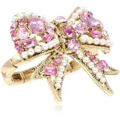 """Betsey Johnson """"Iconic Hearts Bows"""" Crystal Bow Two-Finger Stretch... ($30) ❤ liked on Polyvore featuring jewelry, rings, betsey johnson, crystal bow ring, double finger ring, crystal stretch rings, two finger rings and crystal stone rings"""