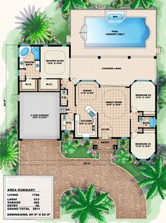 Ravenna House Plan: Mediterranean style beach home floor plan for narrow coastal lot. 5 bed, 5 full bath and 2 half baths. This two story stock house plan has a luxury outdoor living space with outdoor kitchen, dining and pool. House Plans One Story, New House Plans, Dream House Plans, Small House Plans, House Floor Plans, Story House, Dream Houses, Florida House Plans, Beach House Plans
