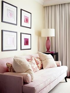 Sarah Richardson - pink room for Park Hyatt Breast Cancer - Toronto. Love the sofa! Transitional Living Rooms, Living Room Modern, Living Room Decor, Living Spaces, Coastal Living, Couches, Pink Couch, Pink Furniture, Sarah Richardson
