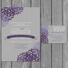 flower wedding invitation, modern, vow renewal, reception only invite, purple, grey on Etsy, $15.00